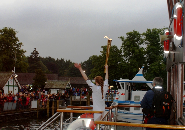 Olympic Torch arriving at Bowness on Windermere - by Zoe Dawes