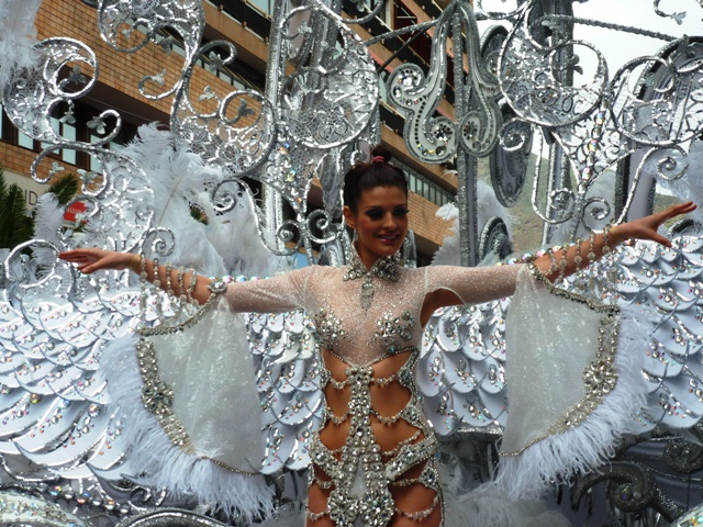 Tenerife Carnival queen 2013 on float - by Zoe Dawes