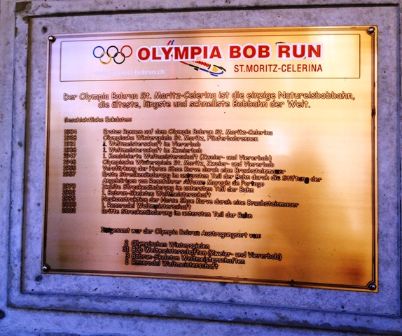 Olympic Bob Run plaque St Moritz - by Zoe Dawes
