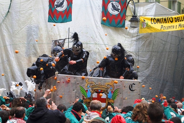 Take part in the Battle of the Oranges in Ivrea Italy