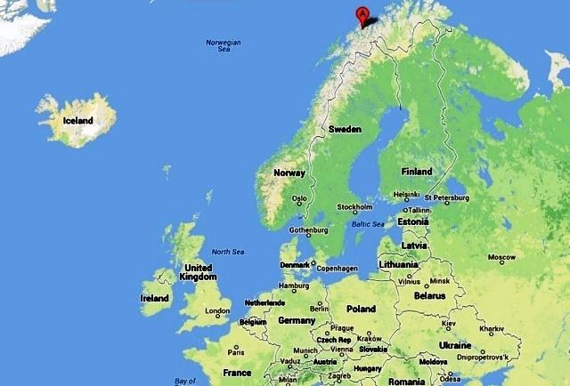 Tromso in Norway map
