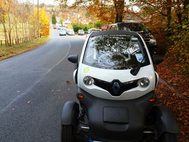 Twizy on the road in the Langdale Valley