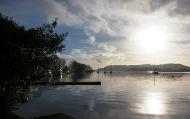 Winter sun over Windermere in Lake District - by Zoe Dawes