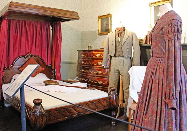 Mr Bronte's Bedroom with Branwell and Emily Bronte costumes - Haworth Parsonage