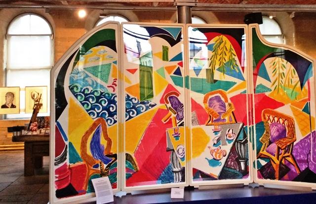 Caribbean Teatime Folding Screen - Hockney - Salts Mill Saltaire - photo zoe dawes