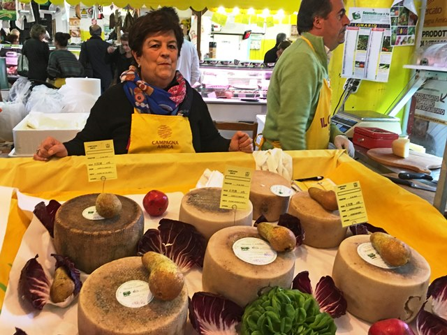Cheese counter at Farmers Market Rome