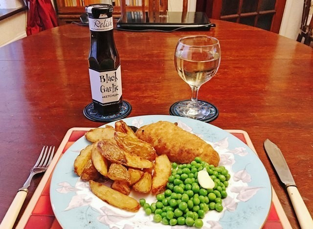 Fish and Chips with Black Garlic Ketchup - photo Zoe Dawes