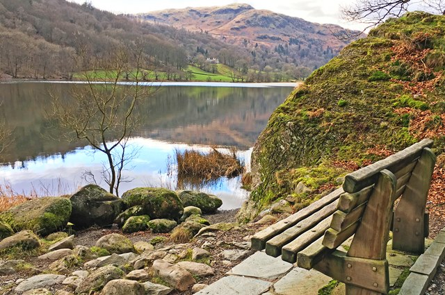 Bench beside Grasmere Lake District - photo zoe dawes