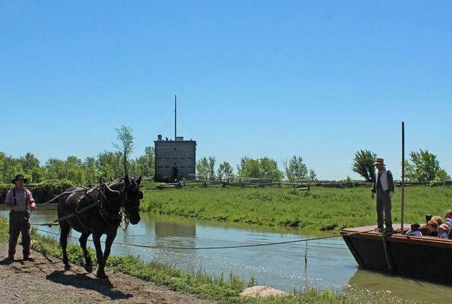 Horse-drawn Tow Scow in Upper Canada Village Ontario - photo Zoe Dawes