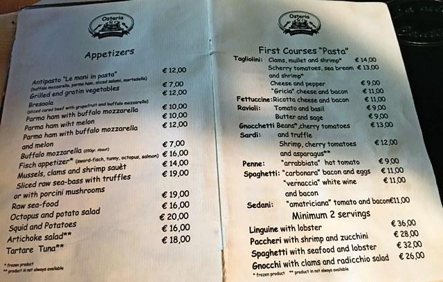 Le Mani in Pasta menu Rome