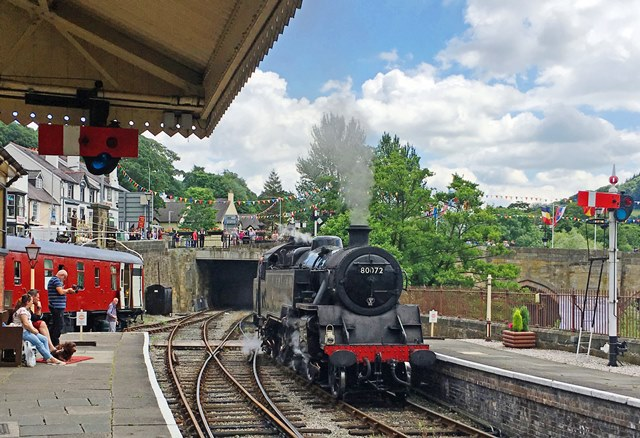 Llangollen Railway Station and 80072 steam train
