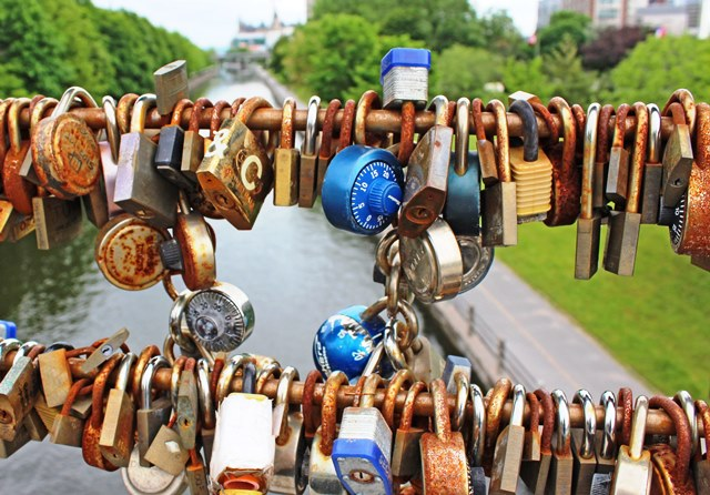 Locks on bridge over the Rideau Canal