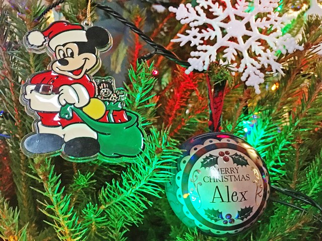 Mickey Mouse bauble from Disneyland USA and other Christmas decorations