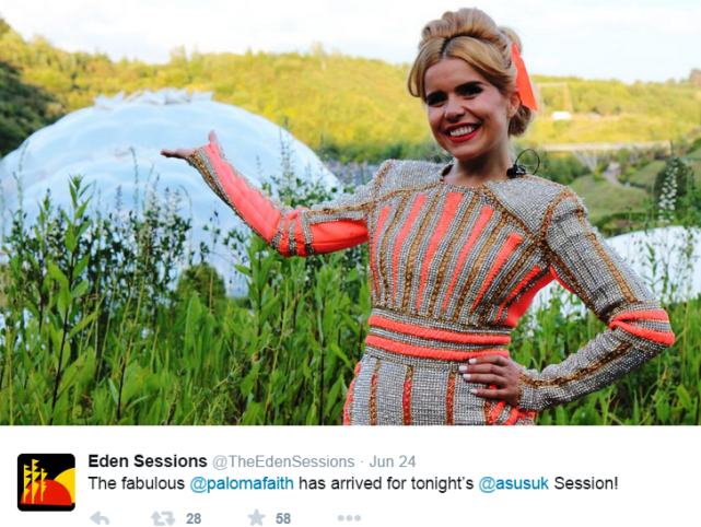 Paloma Faith at Eden Project - photo The Eden Sessions Twitter