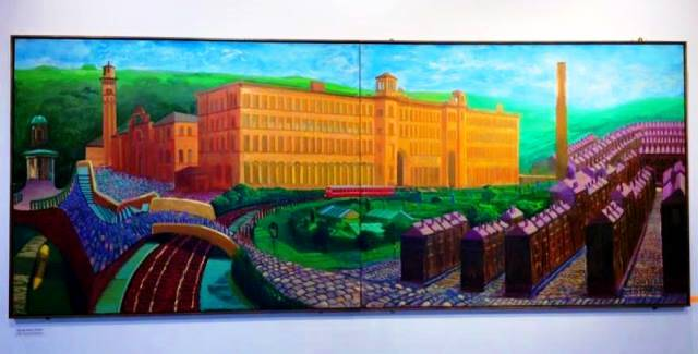 Salts Mill Saltaire village Yorkshire - painting by David Hockney