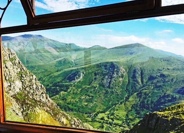 View from Snowdon Mountain Railway carriage Wales - by Zoe Dawes