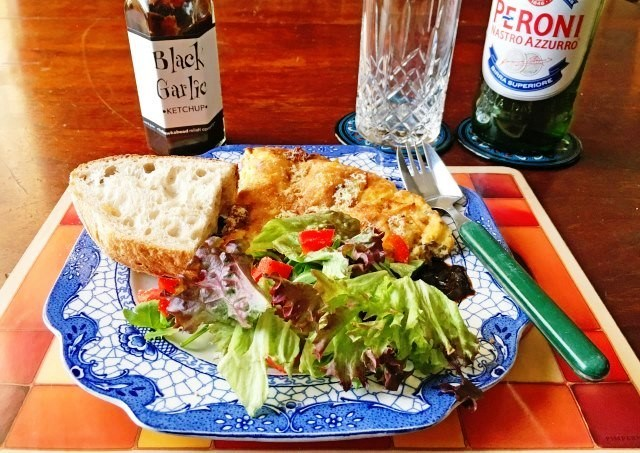Spanish Omelette and salad with Black Garlic Ketchup - photo zoe dawes