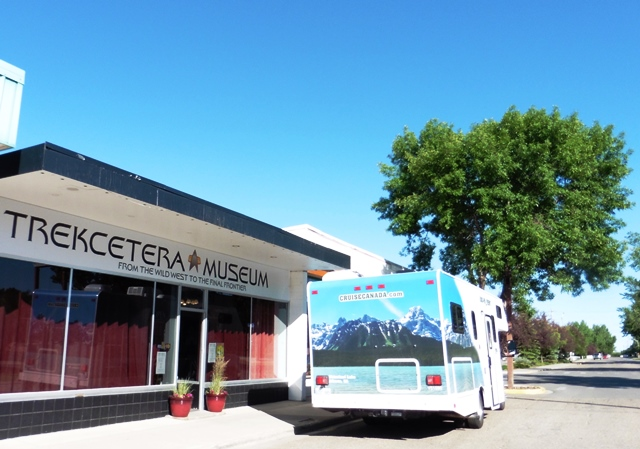 RV outside Trekcetera Museum Alberta