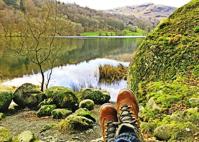 Walking boots - overlooking Grasmere in the Lake District
