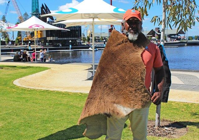 Walter modelling a kangaroo skin Perth Australia