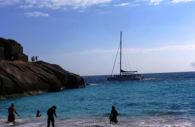 Yacht sailing by on Tenerife - photo Zoe Dawes