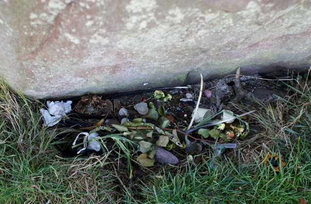 Offerings at Long Meg Stone Circle, Eden Valley Cumbria