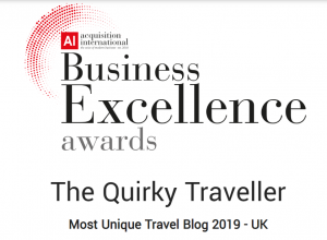 Acquisition International Business Excellent Award Unique Travel Blog 2019 The Quirky Traveller