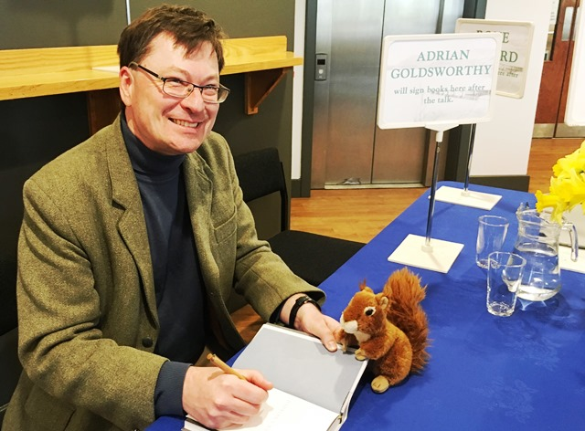 Oxley Red Squirrel with author Adrian Goldsworthy at Theatre by the Lake