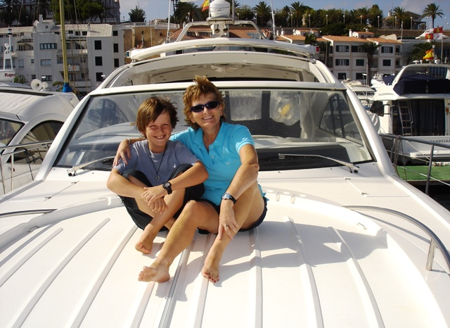 Zoe and Alex on yacht in Mahon harbour