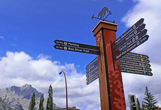 Banff town signpost - RV road trip Canada - image zoedawes