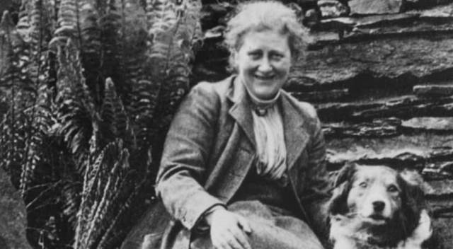 Beatrix Potter with her sheepdog Kip at Hill Top - image National Trust