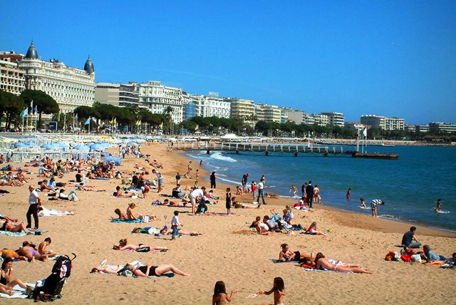 Cannes beach, cote d'azur, france