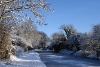 Lancaster Canal Carnforth in the winter snow