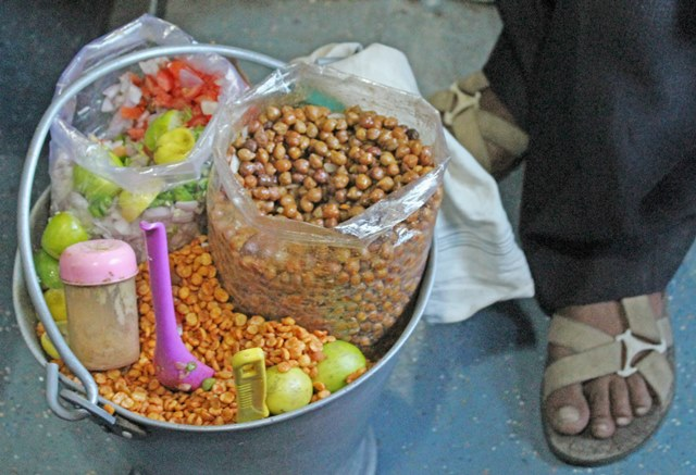 Ingredients for chaat served fresh on Toy Train to Shimla - photo Zoe Dawes