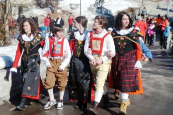 Swiss children in Chalandamarz Fesitval St Moritz