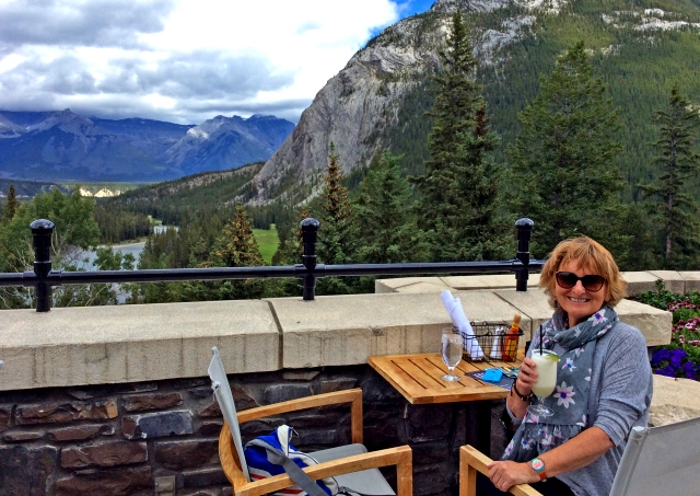 Cocktail on Banff Springs Hotel terrace Rocky Mountains Canada - zoedawes
