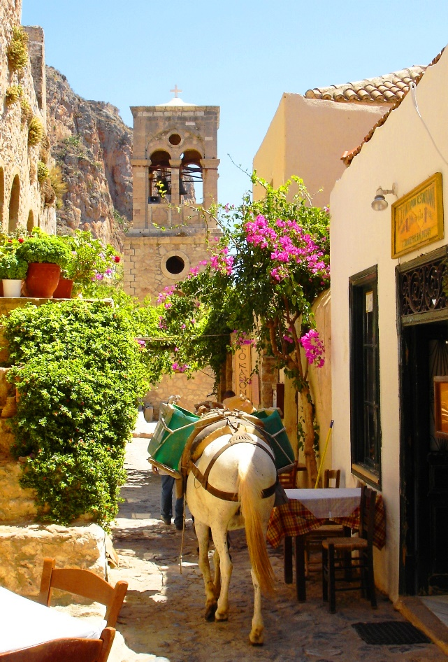 Donkey walking in narrow street in Monemvasia Greece - photo zoe dawes