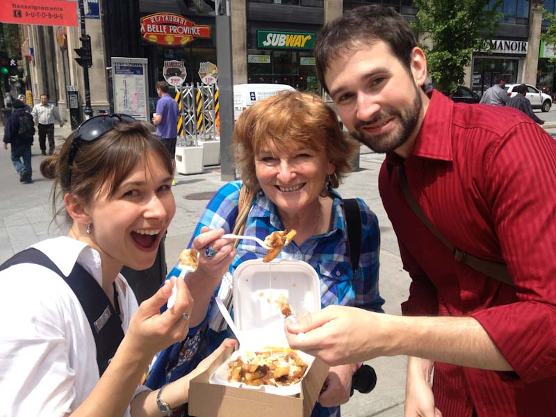 Eating poutine in Montreal Quebec Province Canada