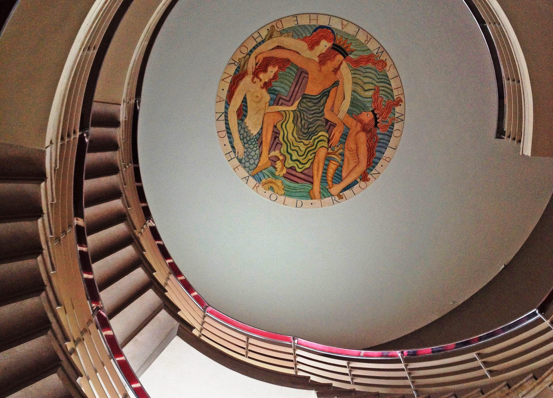 Neptune medallion by Eric Gill, Midland Hotel Morecambe - photo Zoe Dawes