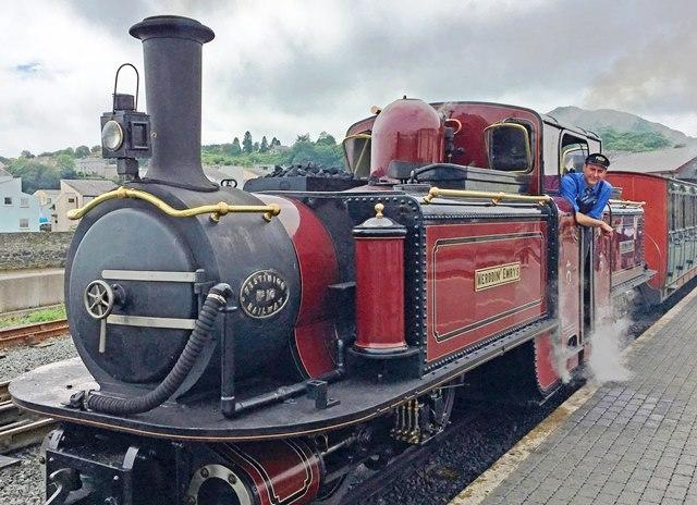 Ffestiniog Railway steam train Merddin Emrys