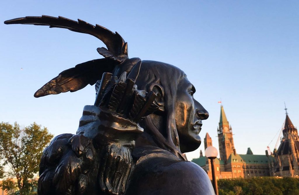 Statue of 'Anishinabe Scout' by Hamilton MacCarthy by Ottawa Parliament - photo Zoe Dawes