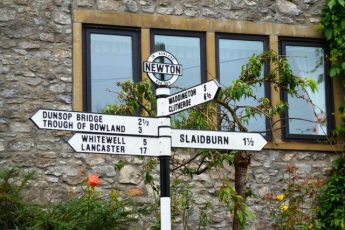 Forest of Bowland signpost Lancashire