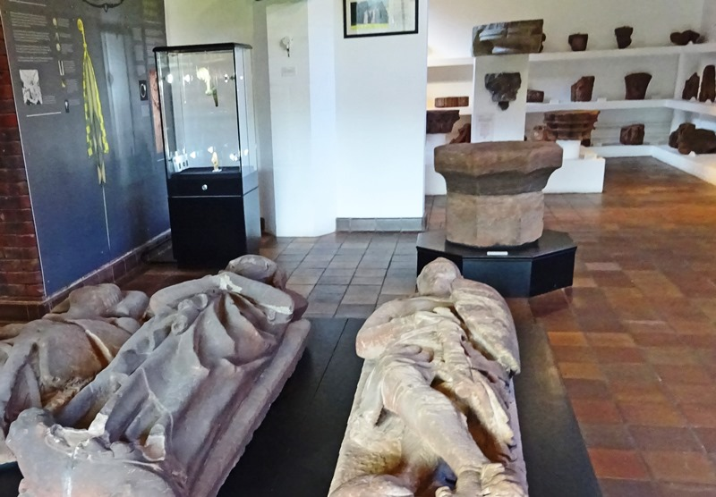 Stone effigies and collection at Furness Abbey hear Barrow, Cumbria