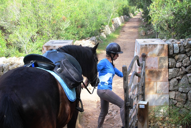 Opening a Menorcan gate with horse on Cami de Cavalls
