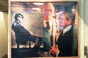 David Hockney and Alan Bennett at Salts Mill Saltaire in Yorkshire