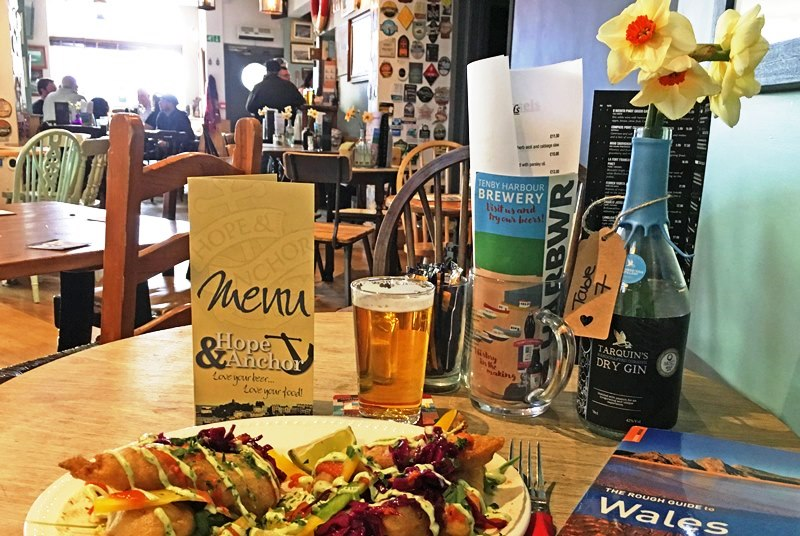 Meal at Hope and Anchor Tenby Pembrokeshire Wales