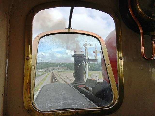 View from inside Ffestiniog Raliway steam engine cab