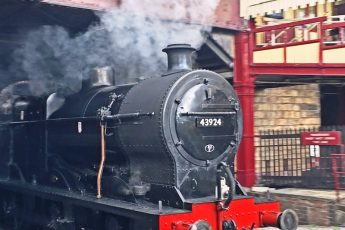 Steam engine at Keighley Station - Yorkshire by rail - photo Zoe Dawes