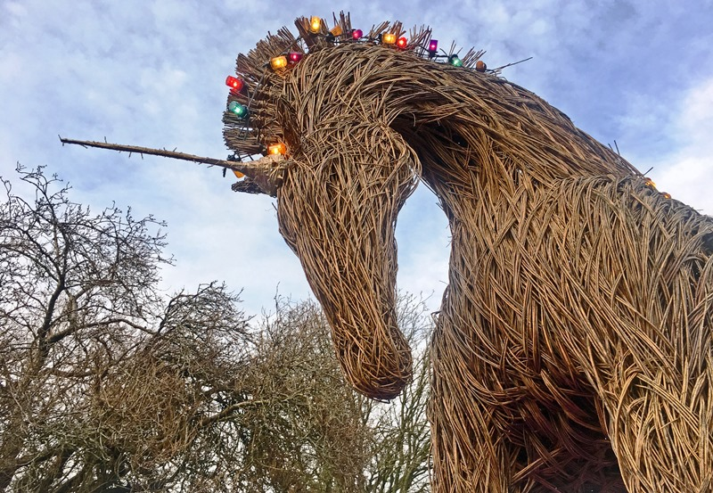Wicker unicorn in Kirkcudbright Scotland - image Zoe Dawes