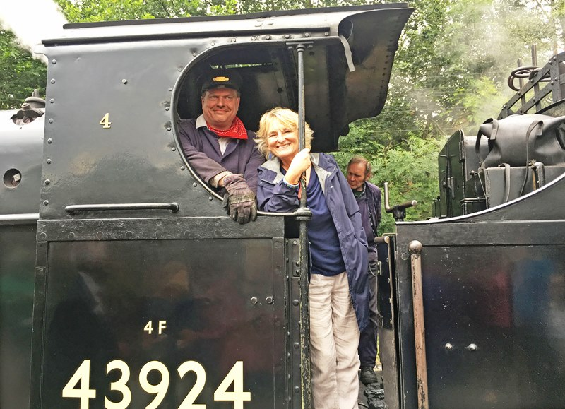 Zoe aboard KWVR steam engine with driver